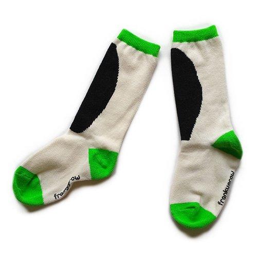Franky Grow (フランキーグロウ) パッチソックス ベージュ &ブラック 靴下(Patch Socks Beige & Black)