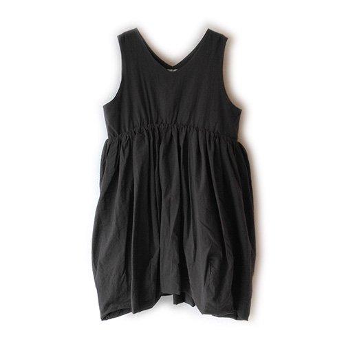Franky Grow (フランキーグロウ) レディース Vネック ダイド ドレス ブラック (Women's V-Neck Dress Dyed Black)