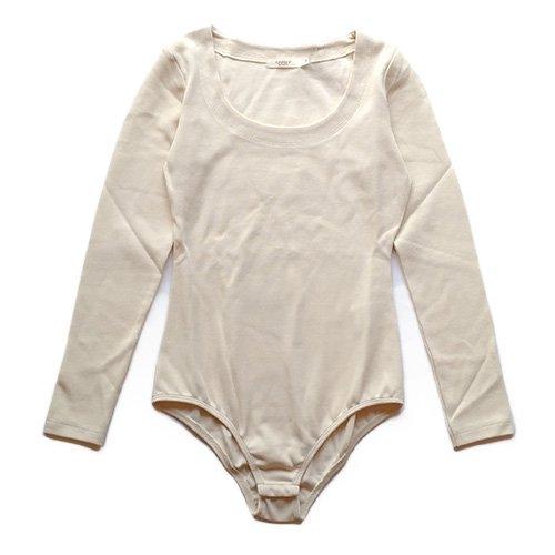 Popupshop (ポップアップショップ) レディース リブ ロングスリーブ ボディースーツ ベージュ(Women's Rib Long Sleeve Body Beig…