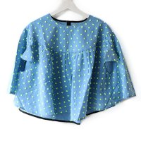 Franky Grow (フランキーグロウ)レディース ボンボンカット ジャガードポンチョ トップス ブルー&イエロー(Women's Bonbon Cut Poncho Blue&Yellow)<img class='new_mark_img2' src='//img.shop-pro.jp/img/new/icons5.gif' style='border:none;display:inline;margin:0px;padding:0px;width:auto;' />