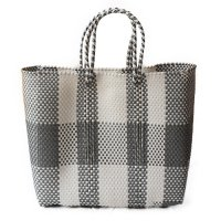 Mexico メルカドバッグ Mサイズ ホワイト&グレーチェック (Mexico Mercado Bag size M White&Black Check )<img class='new_mark_img2' src='//img.shop-pro.jp/img/new/icons5.gif' style='border:none;display:inline;margin:0px;padding:0px;width:auto;' />