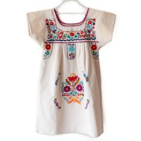 Mexico 刺繍 キッズワンピース オフホワイト(Mexico Embroidery Kids One Piece Dress Off-White)