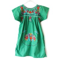 Mexico 刺繍 キッズワンピース グリーン(Mexico Embroidery Kids One Piece Dress Green)