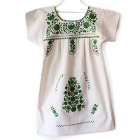 Mexico 刺繍 キッズワンピース オフホワイト×グリーン刺繍 (Mexico Embroidery Kids One Piece Dress offwhite×green)