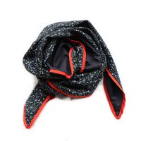 boutique Osono オリジナル ターバン ブラックベース レッドパイピング ブルーフラワー&ブラック(Original Turban Black base Red Piping)<img class='new_mark_img2' src='//img.shop-pro.jp/img/new/icons5.gif' style='border:none;display:inline;margin:0px;padding:0px;width:auto;' />