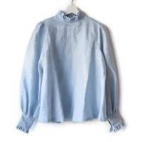 Nuno(ヌーノ)レディース プリンセスのブラウス リネンガーゼ ホライズンブルー (Frilled Blouse horizon blue) <img class='new_mark_img2' src='//img.shop-pro.jp/img/new/icons5.gif' style='border:none;display:inline;margin:0px;padding:0px;width:auto;' />