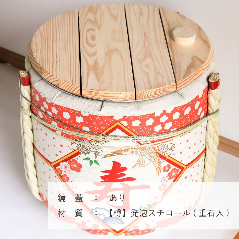 レンタル鏡開きセット2斗樽 寿・花柄【50名用】【画像3】