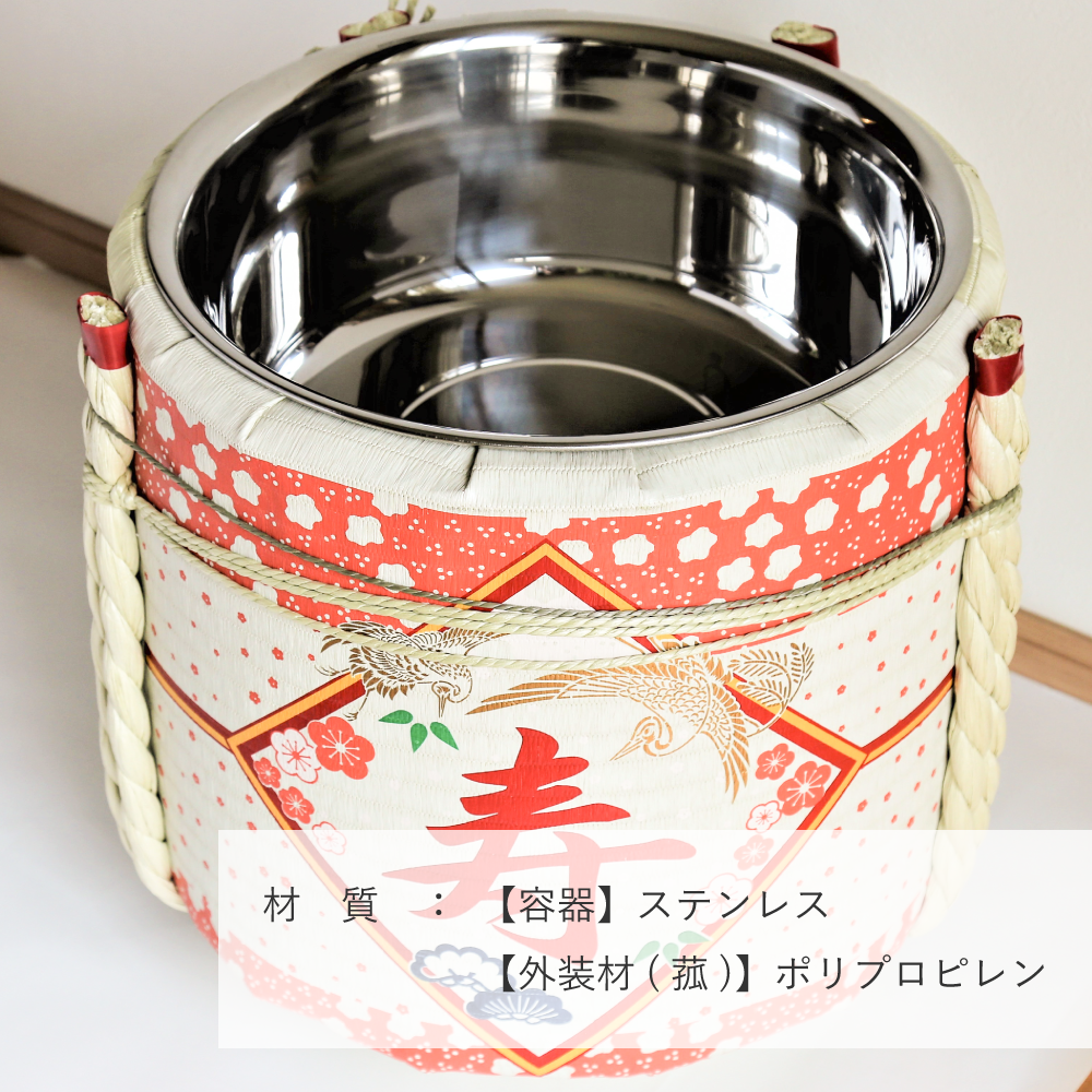 レンタル鏡開きセット2斗樽 寿・花柄【50名用】【画像4】