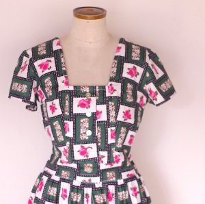 early60s rose print dress