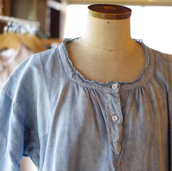 early 20'th linen dress/indigo /initial SD