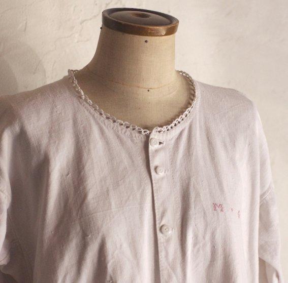 vintage early 20th century cotton dress / white 1900年代初期のコットンリネンワンピース