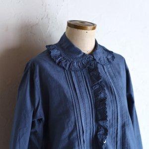 vintage early 20th century cotton blouse / ネイビーの丸襟手刺繍ブラウス