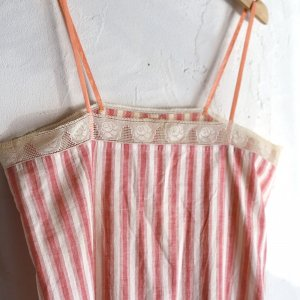 early 20th century stripe cami dress / バラのレースのついたストライプワンピース