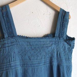 early 20th century flower lace dress / インディゴ染めの手刺繍ワンピース