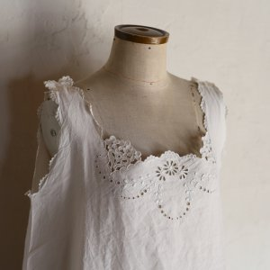 early 20th century hand embroidery dress / カットワークのワンピース