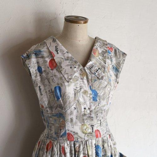 1950's balloon print dress / 風船が舞う街の絵柄のドレス
