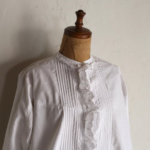 early 20th century cotton blouse / タックと手刺繍のブラウス
