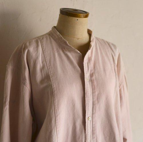 vintage grandfather shirt / 淡いパープルの草木染めシャツ