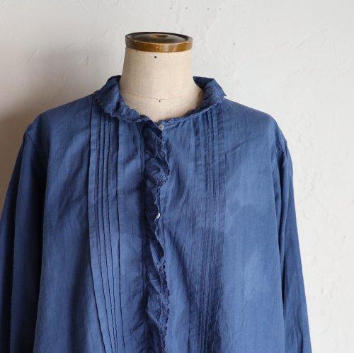 early 20th century cotton blouse / ネイビーのフリルブラウス