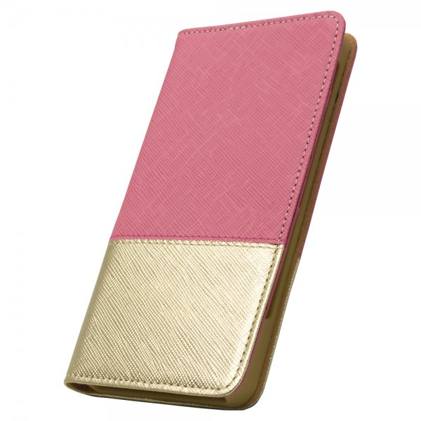 [6sPlus/6Plus] レディトキオ / ピンク×ゴールド 手帳型レザーケース