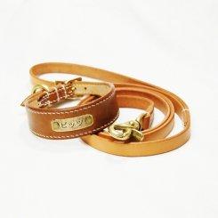 コードバン ナチュラル 幅広首輪&オイルヌメリード セット 19cm〜25cm