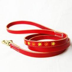 ヌメ革 刺繍入りリード 中型犬用 1.5cm幅