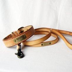 オイルヌメ ナチュラル ストレート首輪&リードセット 26cm〜32cm
