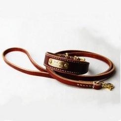 カラーヌメ幅広首輪&リードセット ブラウン 19cm〜26cm
