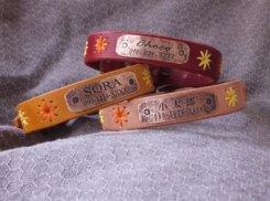 ヌメ革 花柄刺繍入り首輪 19cm〜28cm アウトレット品