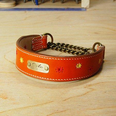 カラーヌメ 花柄刺繍入りハーフチョーク オレンジ 40cm~46cm 中型犬~大型犬