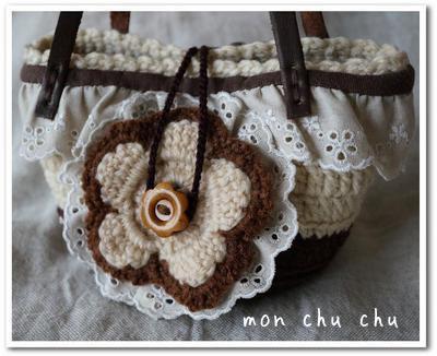 手編みミニかごバッグ(コサージュ付き)