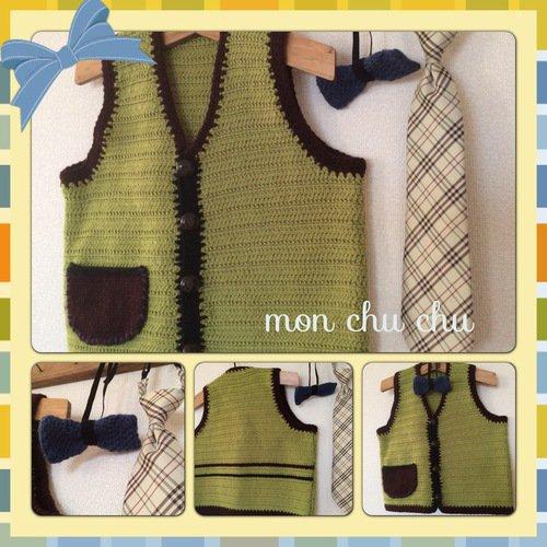 手編みベスト(ネクタイ付)男の子用90/ mon chu chu