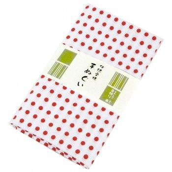 日本手ぬぐい 伝統文様 豆絞り 赤(袋入り)