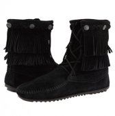 取り寄せ【ミネトンカ】MINNETONKA・DOUBLE FRINGE TRAMPER BOOT / BLACK【ブラック】