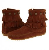 [在庫有]【ミネトンカ】MINNETONKA・DOUBLE FRINGE SIDE ZIP BOOT/ BROWN【ブラウン】