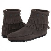 [再入荷]【ミネトンカ】MINNETONKA・DOUBLE FRINGE SIDE ZIP BOOT/ GREY【グレー】
