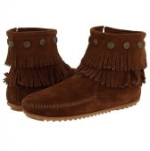 [再入荷]MINNETONKA・DOUBLE FRINGE SIDE ZIP BOOT/ DUSTY BROWN【ダスティブラウン】