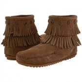 [在庫有]【ミネトンカ】MINNETONKA・DOUBLE FRINGE SIDE ZIP BOOT/ TAUPE【トープ】