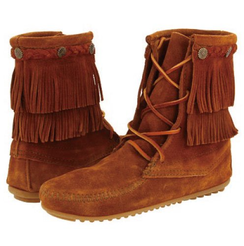 【ミネトンカ】MINNETONKA・DOUBLE FRINGE TRAMPER BOOT / BROWN【ブラウン】