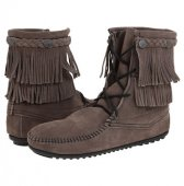 【ミネトンカ】MINNETONKA・DOUBLE FRINGE TRAMPER BOOT / GREY【グレー】