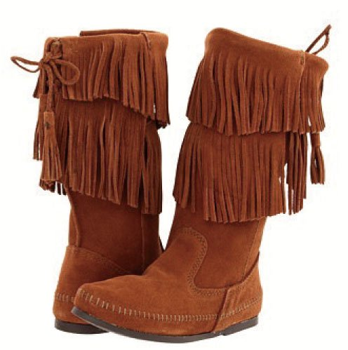 【ミネトンカ】MINNETONKA・CALF HI 2-LAYER FRINGE BOOT / BROWN[ブラウン]