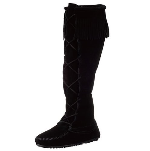 【ミネトンカ】MINNETONKA・FRONT LACED HARD SOLE KNEE HI BOOT / BLACK[ブラック]
