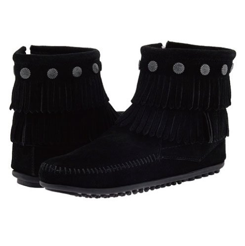 [35%OFF]【ミネトンカ】MINNETONKA・DOUBLE FRINGE SIDE ZIP BOOT/ BLACK【ブラック】