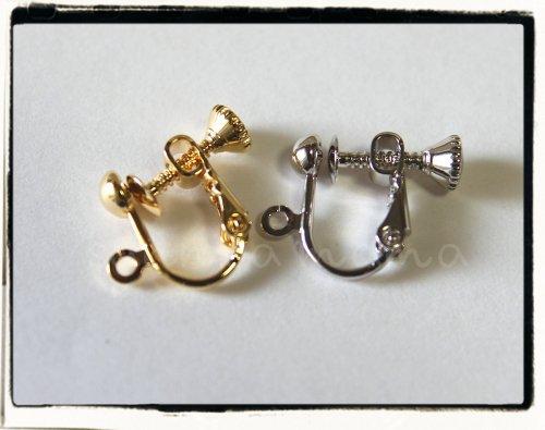 2色☆イヤリング ネジバネ玉ブラ 高品質鍍金タイプ
