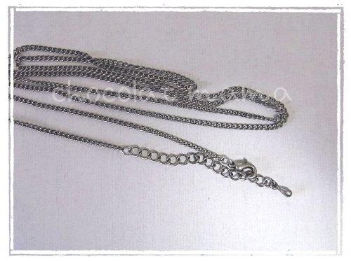 ネックレス金具付き☆チェーン 銀古美色 約80センチ