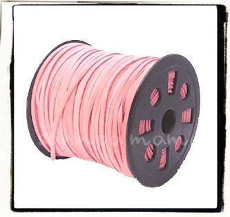 合皮スエードレザーコード 平ひも 3mm ピンク