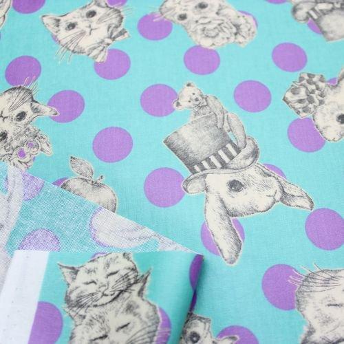 Joli Fleur La Toile WonderDrop-Mimi et Lapine- 【アクアトピア】ライトブルー×パープルドット 綿シーチングラミネート
