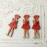 フランス 木製ボタン3個セット【バブーシュをつけた女の子(うしろ姿)】ウッドボタン