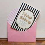 バースデーカード Happy Birthiday ブックストライプ グリーティングカード