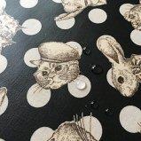 Joli Fleur La Toile(ジョリーフルールラトワール) ラミネート生地 WonderDrop【ブラック】In The Darkness(イン・ザ・ダークネス)100cm×10cm